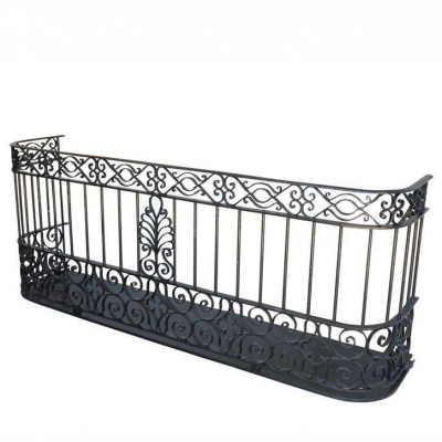 Antique Reclaimed Black Wrought Iron Juliet Balcony