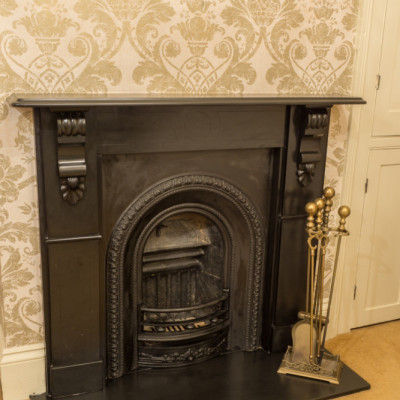 Victorian Slate Fireplace, insert and irons