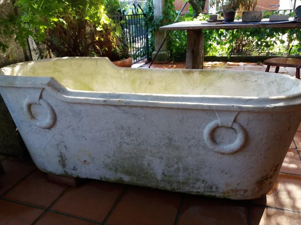 A very rare antique Carrara marble tub