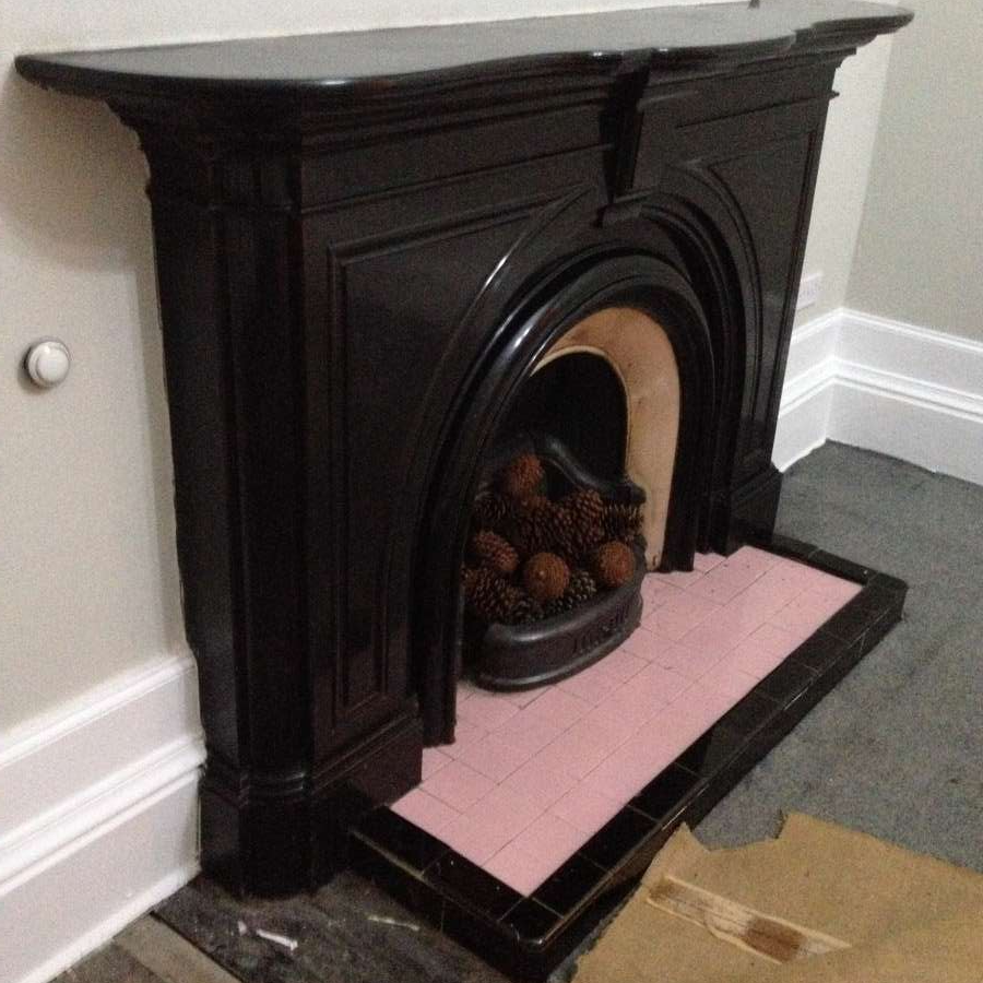 For Sale Stunning Antique Victorian Black Marble Fireplace With
