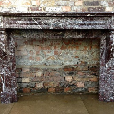 Antique Rosso Levanto Marble Fireplace Surround