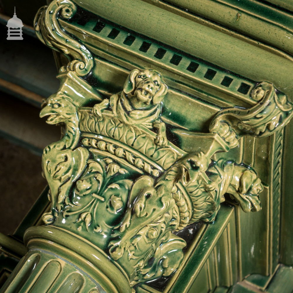 Magnificent 19th C French Glazed Ceramic Fireplace Surround Chimneypiece with Corinthian Columns