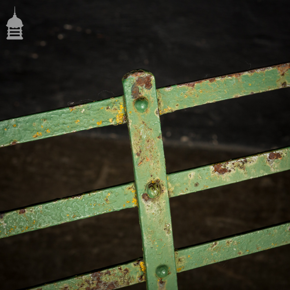 Regency Wrought Iron Garden Bench with Distressed Green Paint