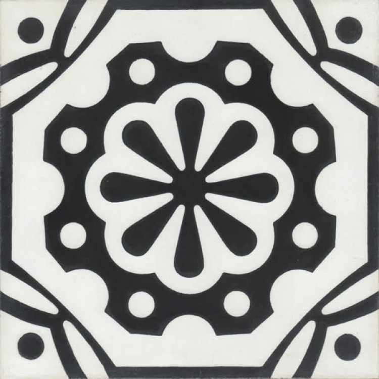 Black and white classic pattern encaustic hand painted Moroccan tiles