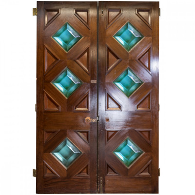 Solid Mahogany Double Doors With Diamond Glazing