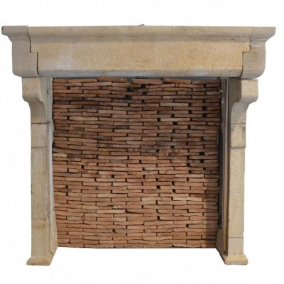 cheminee en pierre calcaire - antique limestone fireplace