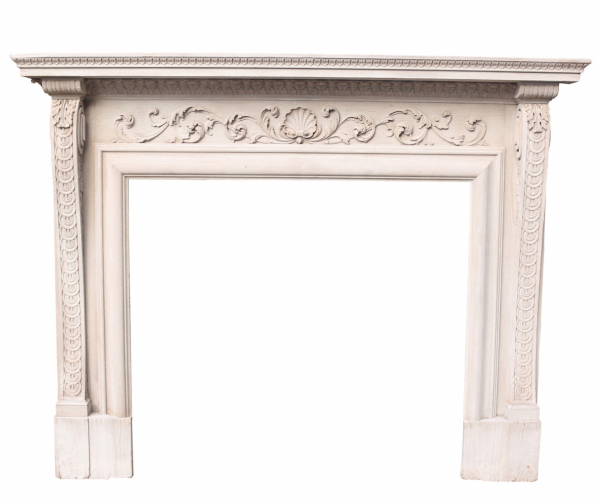 Early 20th Century Carved Pine Fire Surround