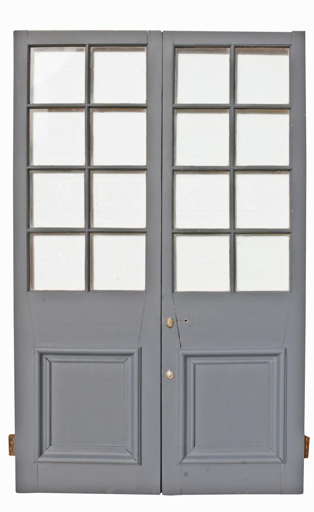 Pair Of Antique Exterior Glazed Pine Doors