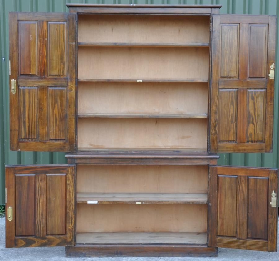 large antique pitch pine cupboard