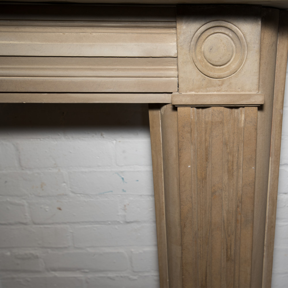 Antique Georgian Sandstone Fireplace Surround with Bullseye Roundels