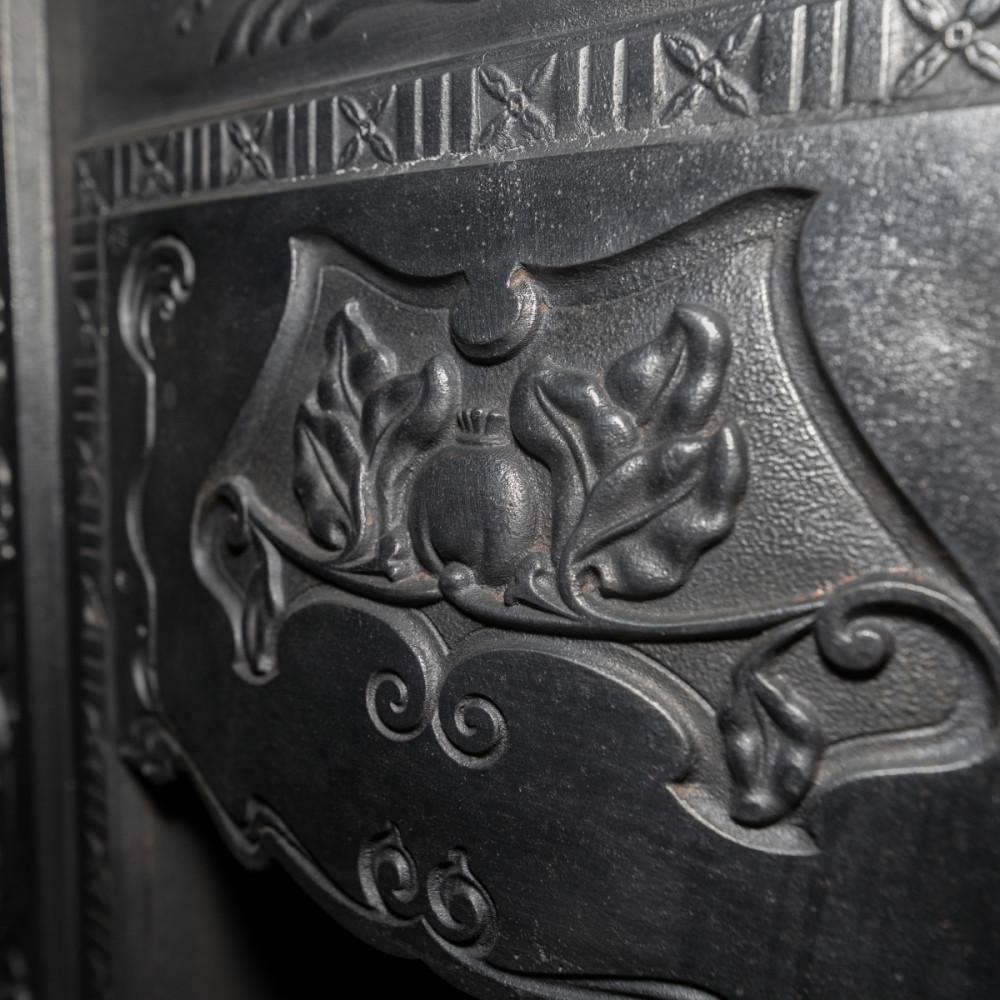 Orignal Edwardian, Art Nouveau Cast Iron Combination Fireplace