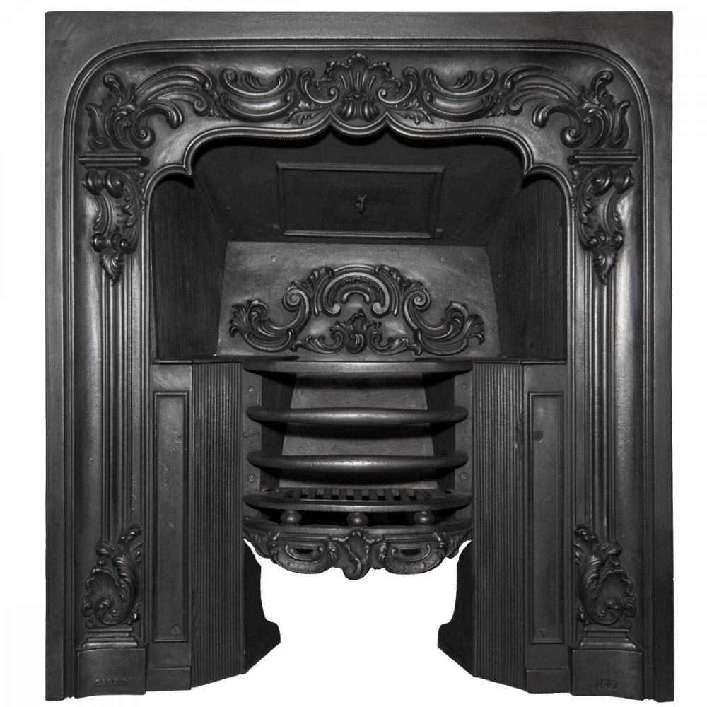 Antique Ornate Georgian Cast Iron Fireplace Insert