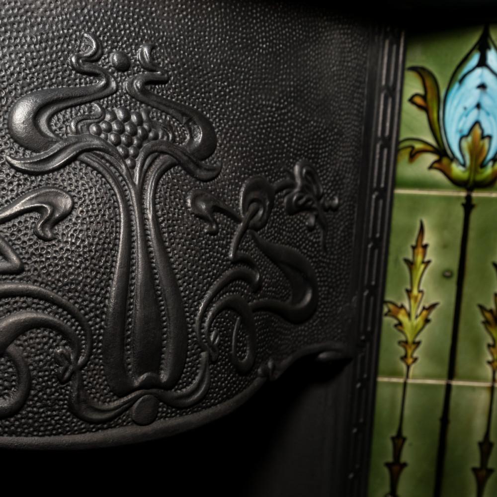 Antique Art Nouveau Cast Iron Tiled Fireplace Insert