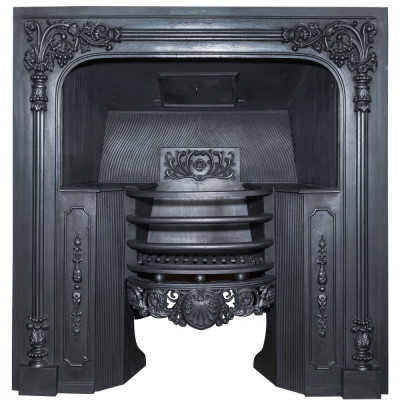 Antique Ornate Georgian Cast Iron Hob Grate