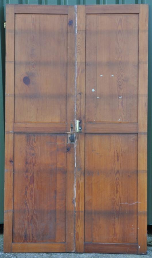 set of antique victorian pitch pine cupboard doors
