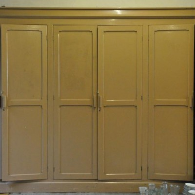 set of antique victorian pitch pine cupboard doors