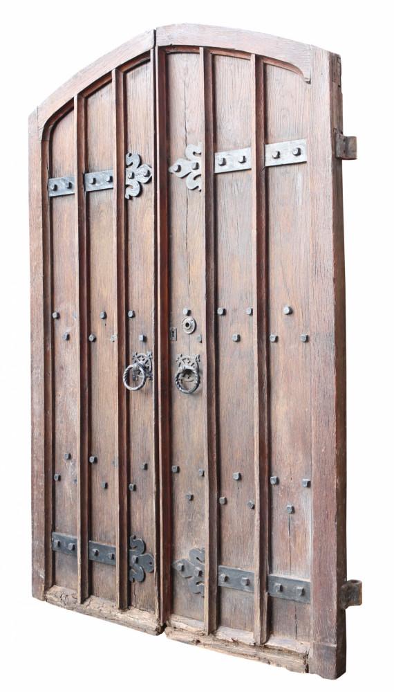Pair Of 19th Century Antique Arched Oak Exterior Doors