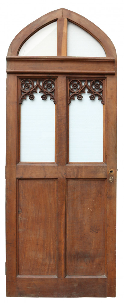 Circa 1900 Glazed Arched Oak Door