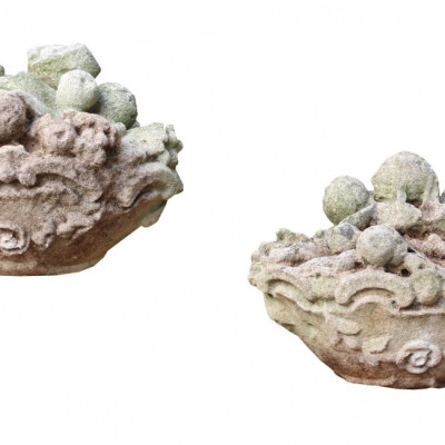 Pair Of Late 19th Century Carved Limestone Baskets Of Fruit Finials
