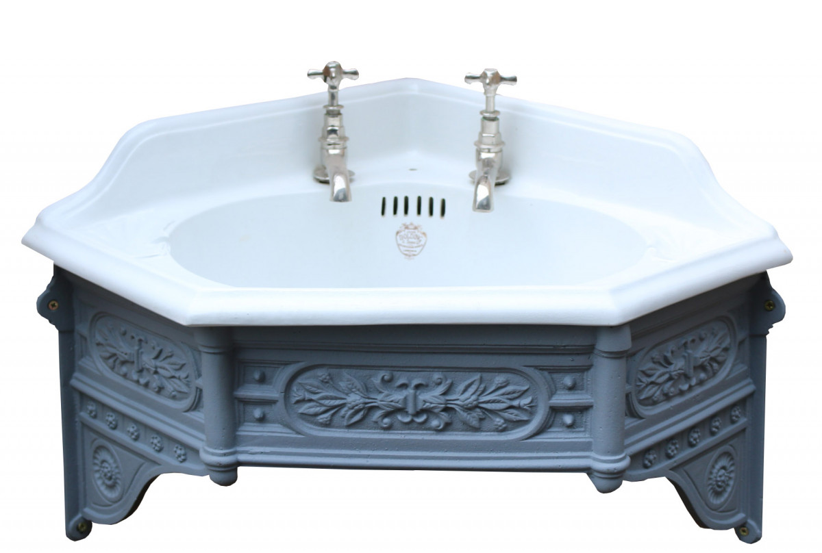 Antique 'john Bolding' Corner Basin / Sink With Cast Iron Bracket