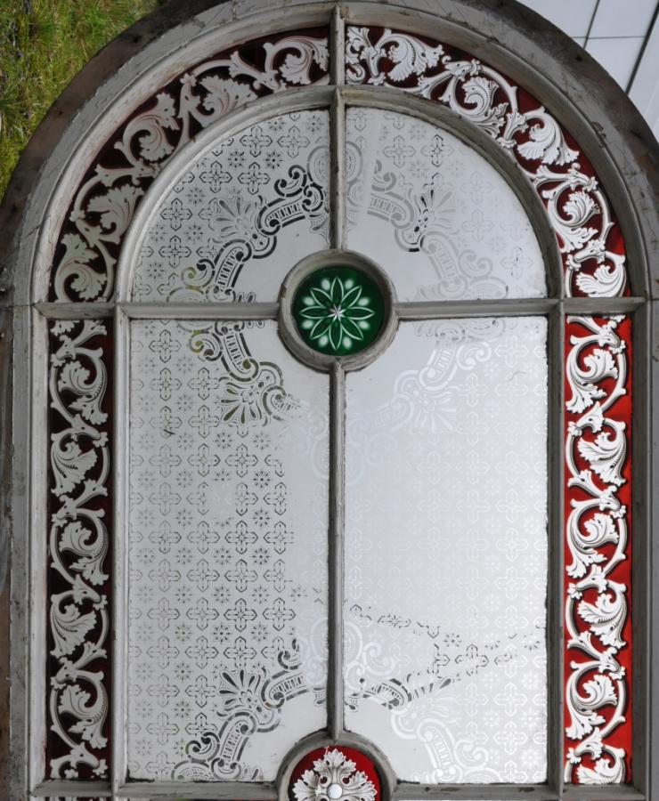 victorian  stained glass arched windows - 12foot high