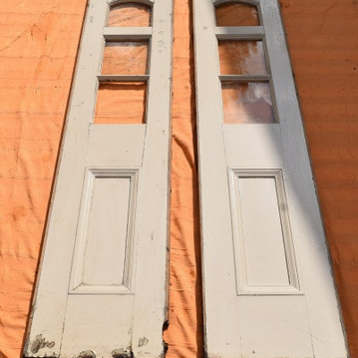 Pair of Very Old Painted Wood Part-Glazed Panels