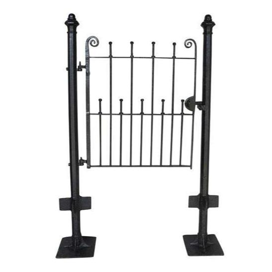Pedestrian Antique Wrought Iron Gate & Cast Iron Posts