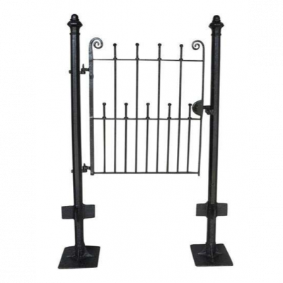 Pedestrian Antique Wrought Iron Gate & Cast Iron Posts