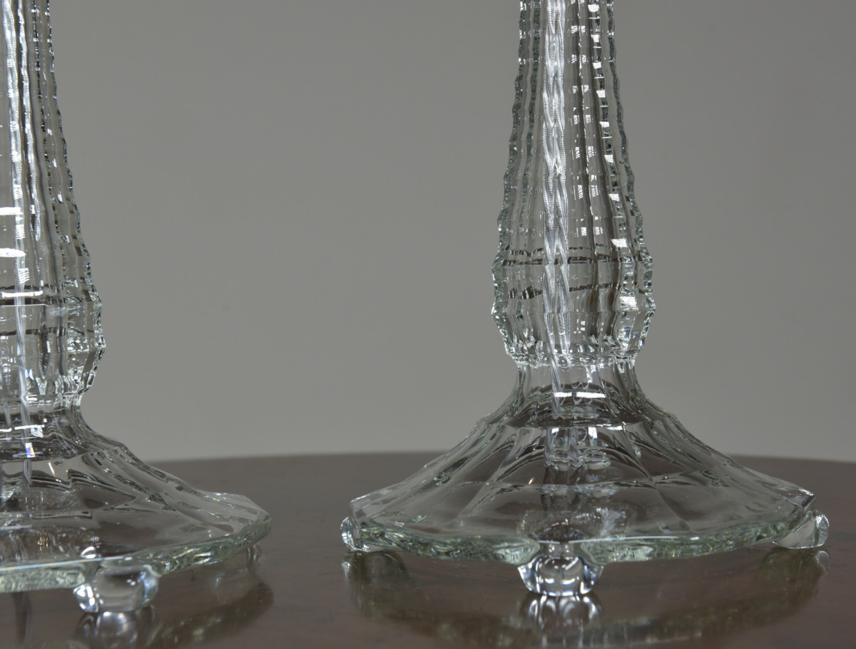 Pair Vintage Glass Table Lamps