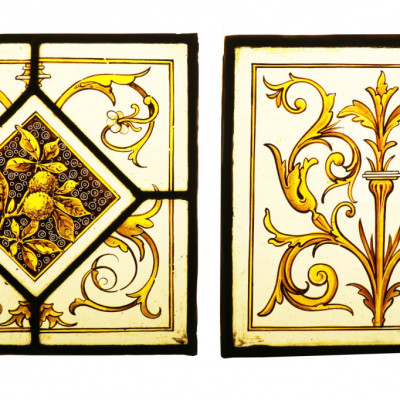 Series Of 19th Century Hand Painted Stained Glass Panels