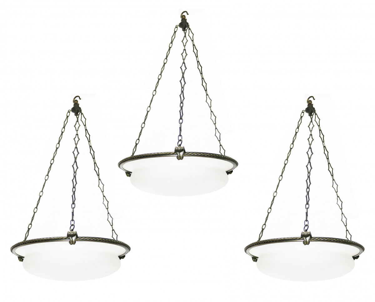 Set Of Three English Pendant Lights Circa.1900
