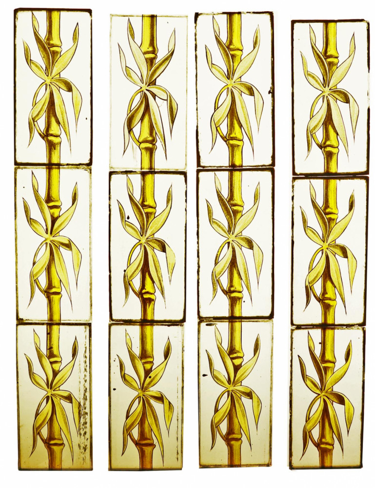 Series Of 70 French Hand Painted Bamboo Stained Glass Panels