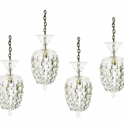 Set Of Four Victorian Crystal Pendant Ceiling Lights