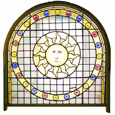 Victorian Hand Painted Stained Glass Window With Sun Face