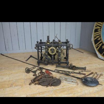 Antique Original Turret Clock & Large Pendulum