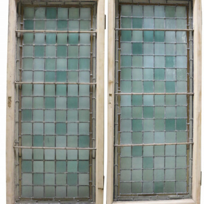 Pair Of Rectangular Stained Glass Windows