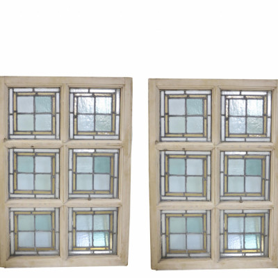 Pair Of Rectangular Stained Glass Stripped Pine Windows
