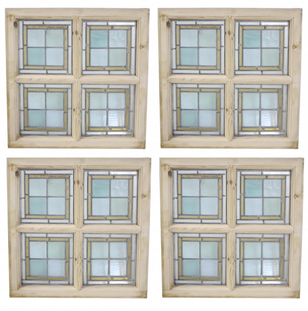 Set Of Four Antique Stained Glass Windows In Stripped Pine Frames