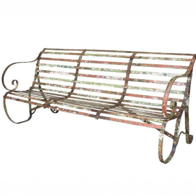 Old Shabby Chic Antique Iron Strapwork Outdoor Bench