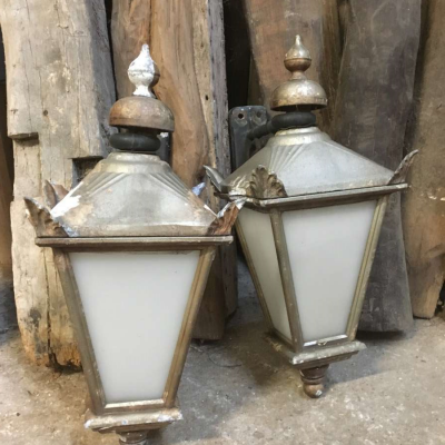 Wall Lanterns Lights Salvaged Pair Pub Antique Victorian Style Carriage Lights Vintage Outdoor Pub Master square Tamar Lamps Gold Coloured Old