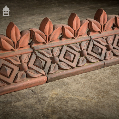 Batch of 11 Decorative Red Angled Crested Ridge Tiles