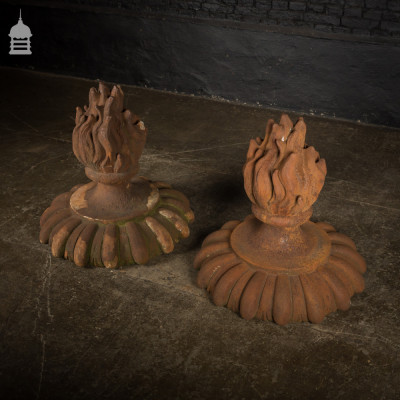 Pair of Aged Fibreglass Flame Torch Pier Caps