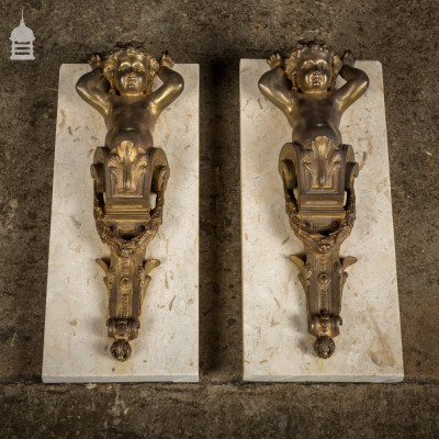 Pair of 19th C Brass Cherubs Mounted on Marble