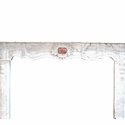 Antique French Carrara Marble Fireplace