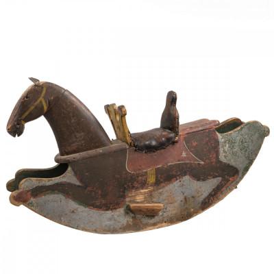 Antique Pine Children's Toy Rocking Horse