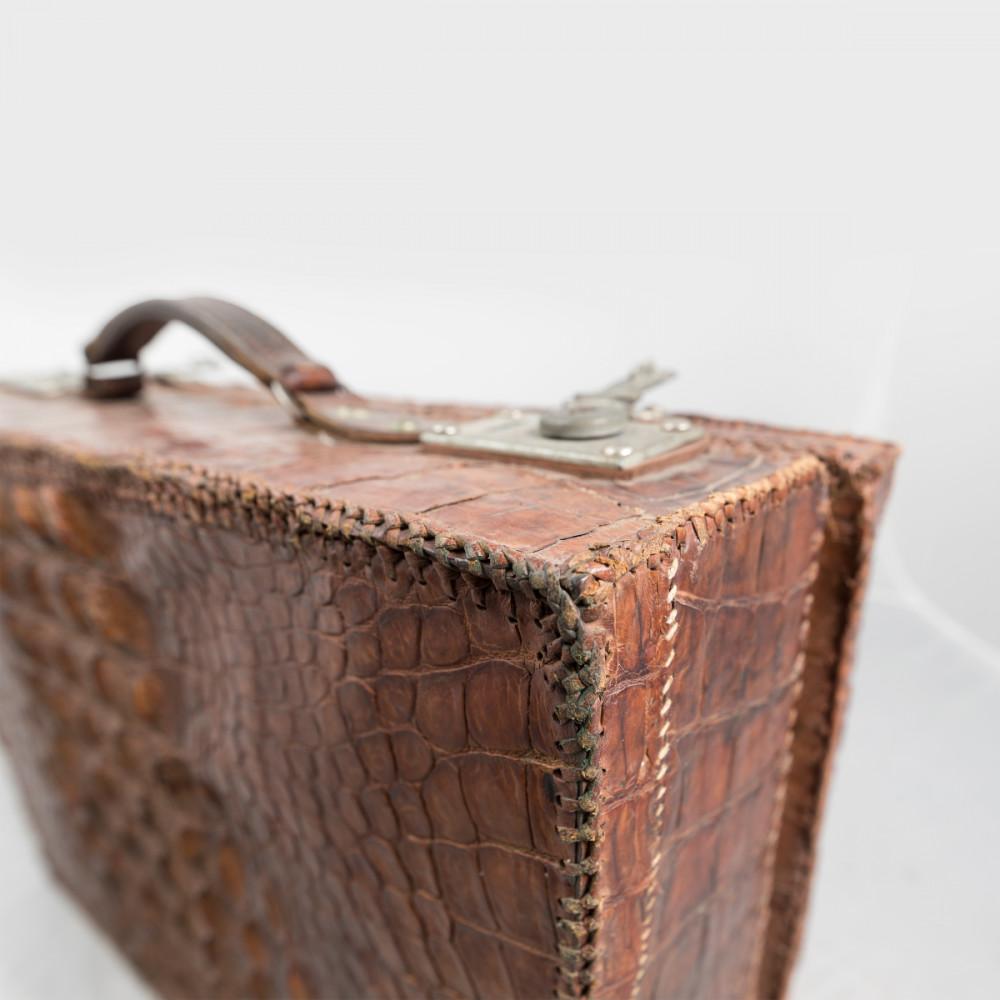 Antique Crocodile Skin Briefcase