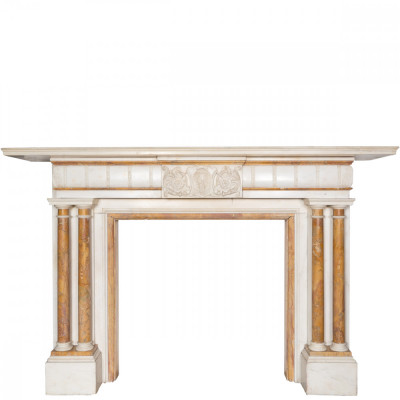 Antique Statuary & Sienna Marble Fireplace Surround