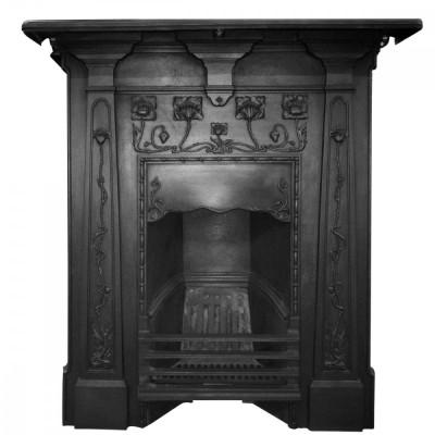 Original Art Nouveau, Edwardian Cast Iron Combination Fireplace