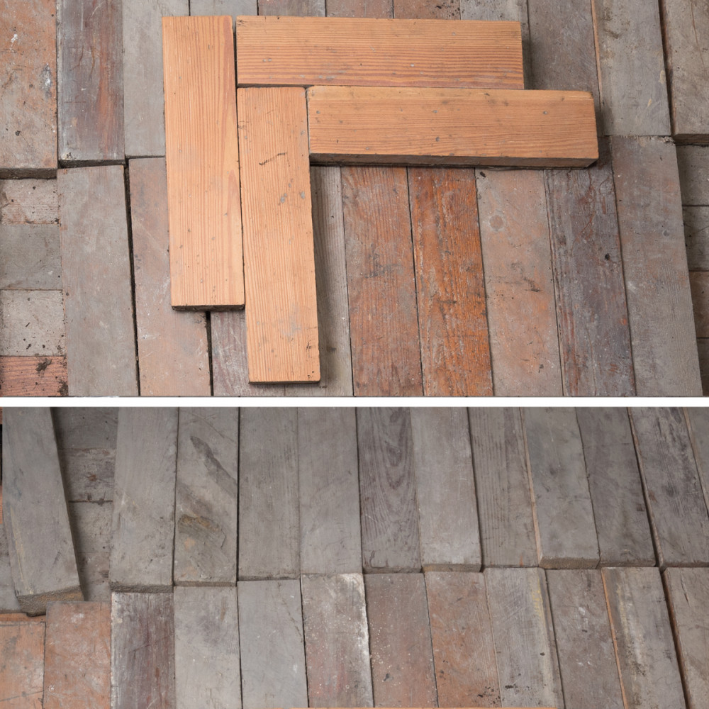Antique Reclaimed Pine Parquet Flooring 39m² Available