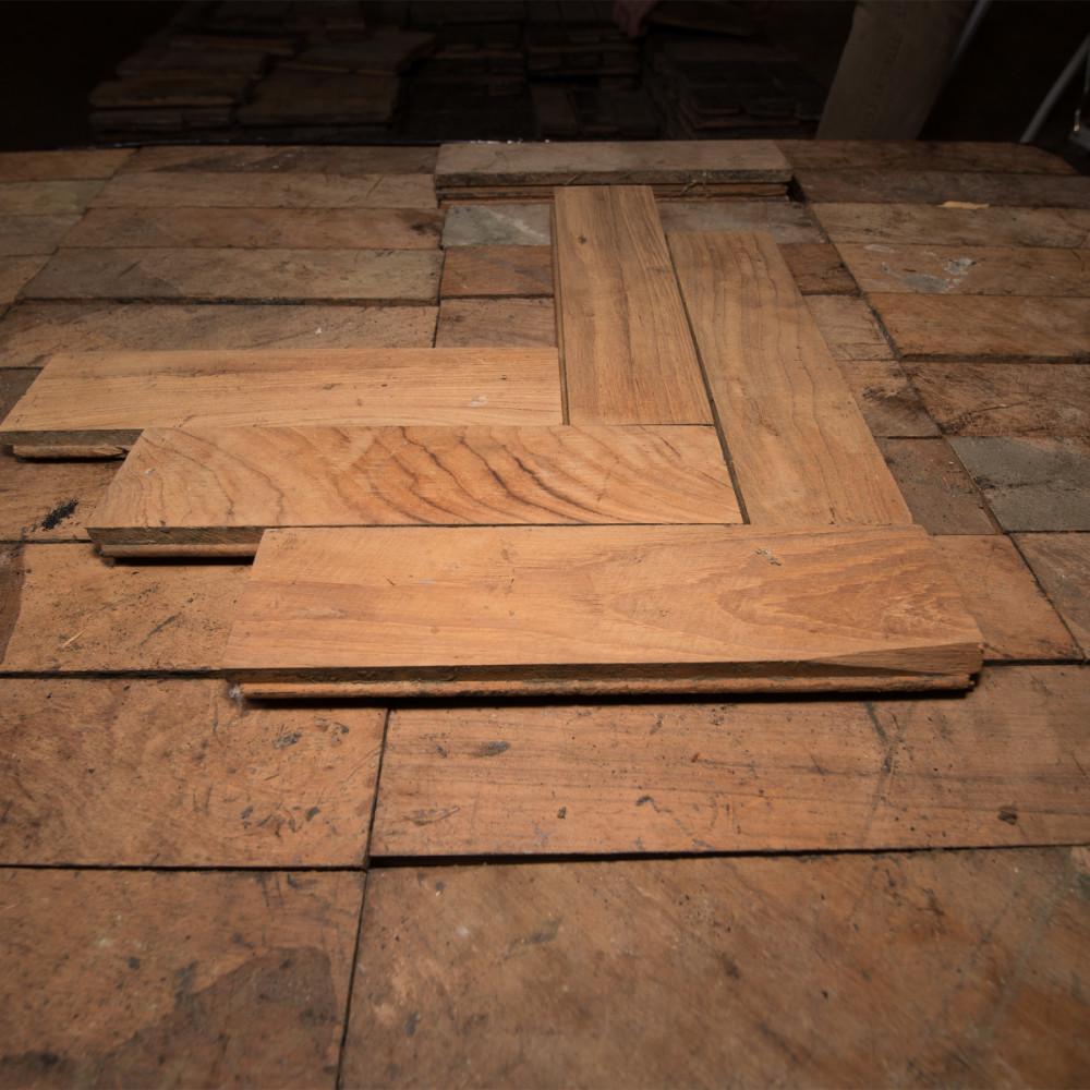 Antique Reclaimed Teak Parquet Flooring 14m²